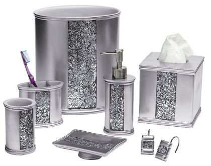 Sinatra silver bling shower curtain and bath accessories for Silver bath accessories set