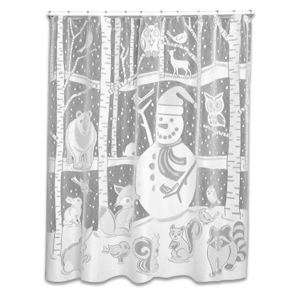 White Snowman Lace Shower Curtain By Heritage