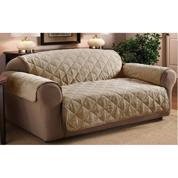 Diamond Quilted Suede Sofa Protector