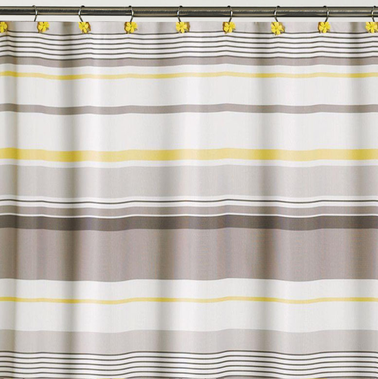 Yellow Striped Fabric Shower Curtain, Gray White And Yellow Shower Curtains