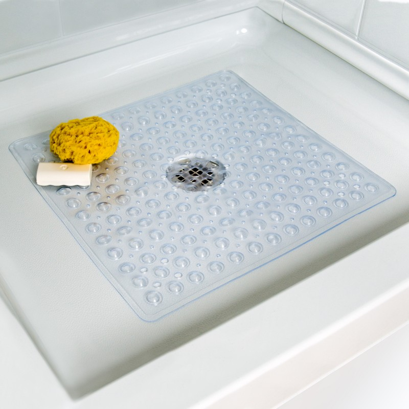 Deluxe Square Shower Mat In Clear