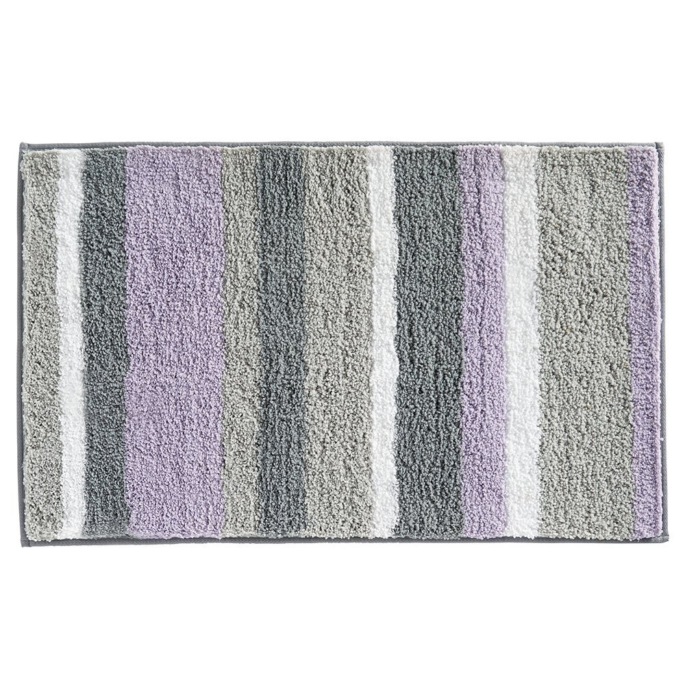 Interdesign Microfiber Stripes Lavender Gray Bath Rug