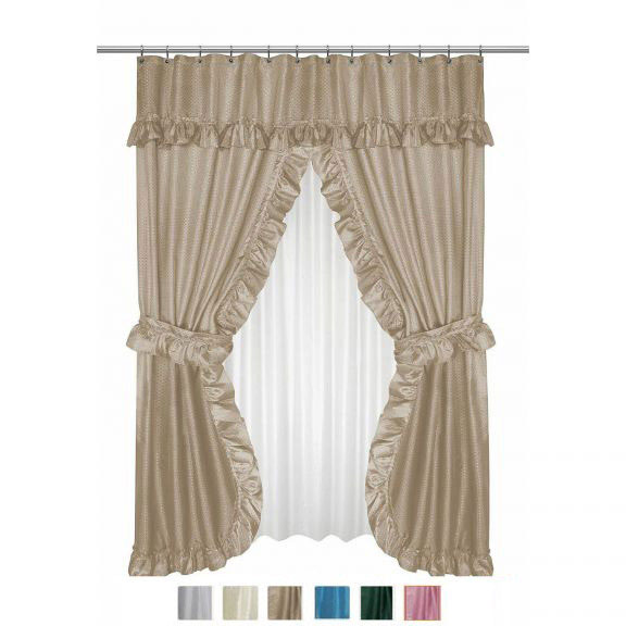 Diamond Dot Double Swag Shower Curtain With Valance And Liner