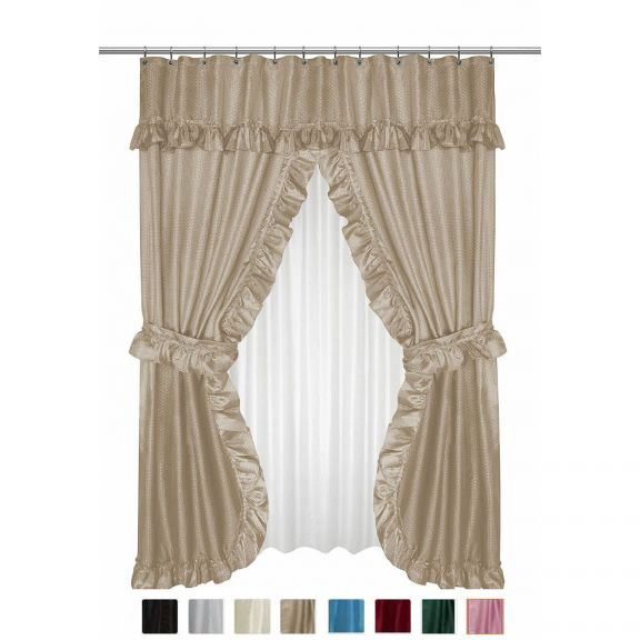 Diamond Dot Double Swag Shower Curtain With Valance And