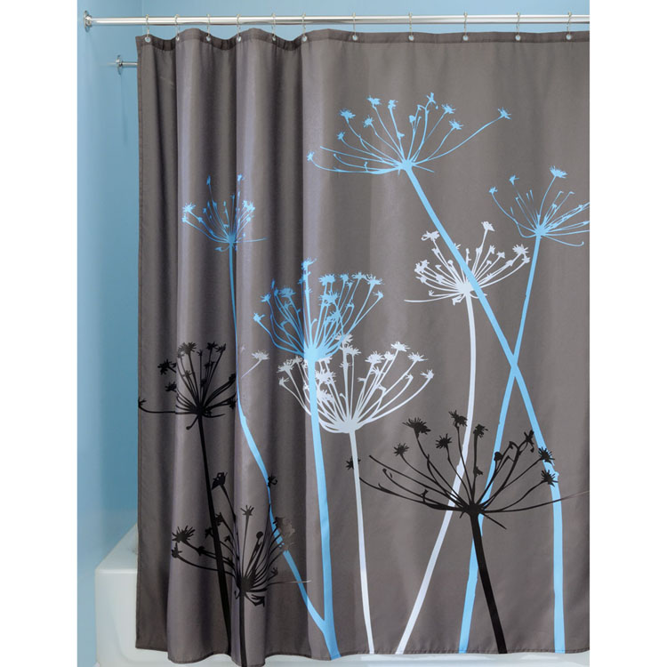 Interdesign Thistle Blue And Grey Fabric Shower Curtain