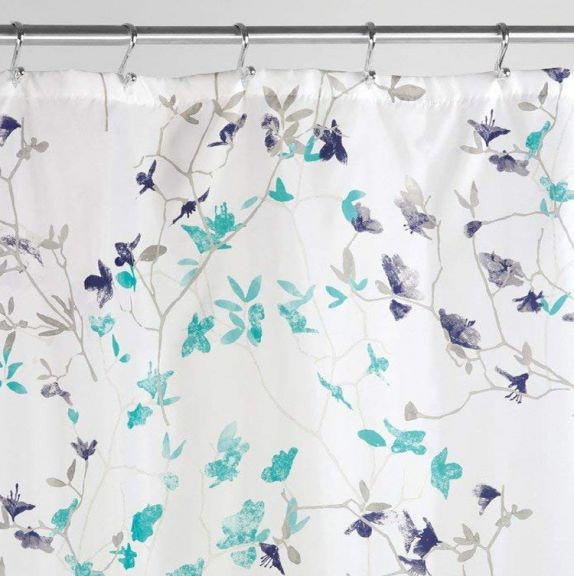 InterDesignR Twiggy Floral Fabric Shower Curtain In Teal And Navy