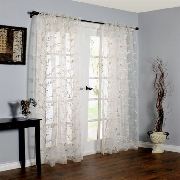 Venice Sheer Floral Embroidered Curtain Panel
