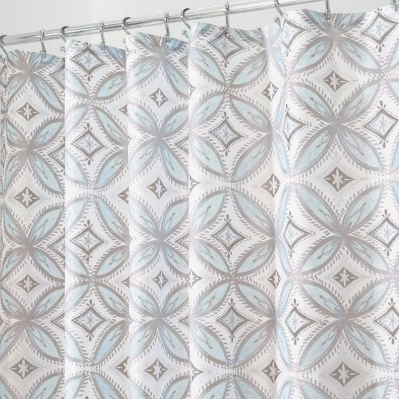 InterDesign Vintage Tile Taupe And Blue Fabric Shower Curtain