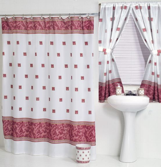 Windsor Burgundy Fabric Shower Curtain W Available Window Curtain