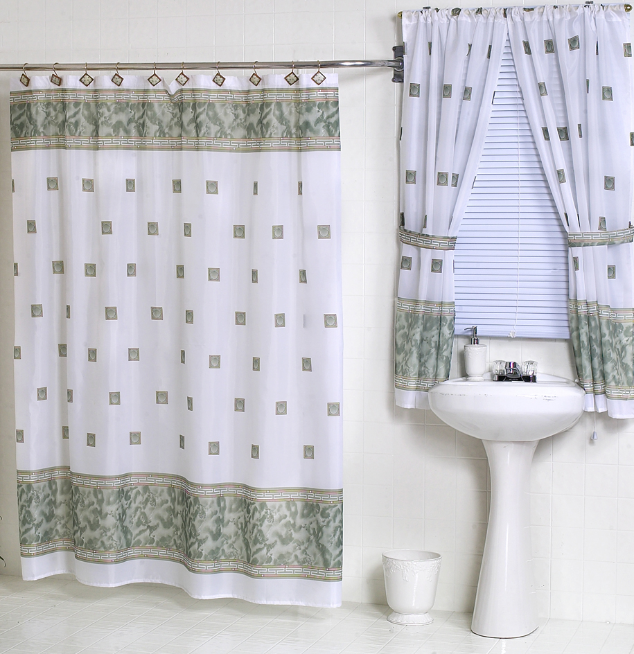 Windsor Jade Green Fabric Shower Curtain Matching Window Curtain